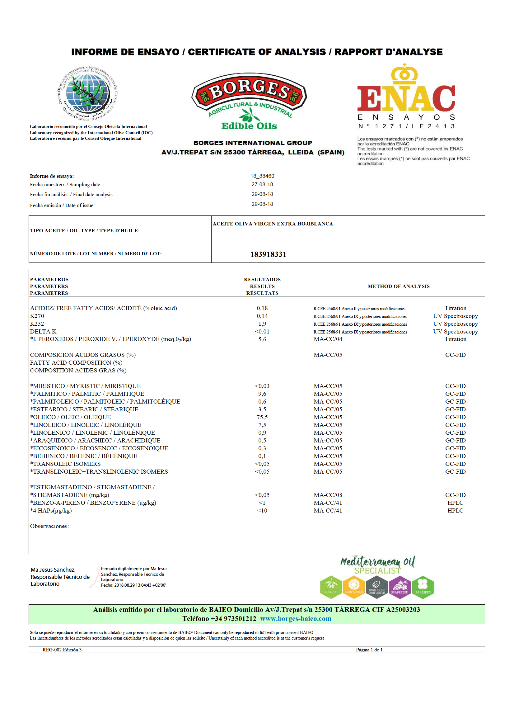 百格仕霍希布蘭卡橄欖油 酸度0.18