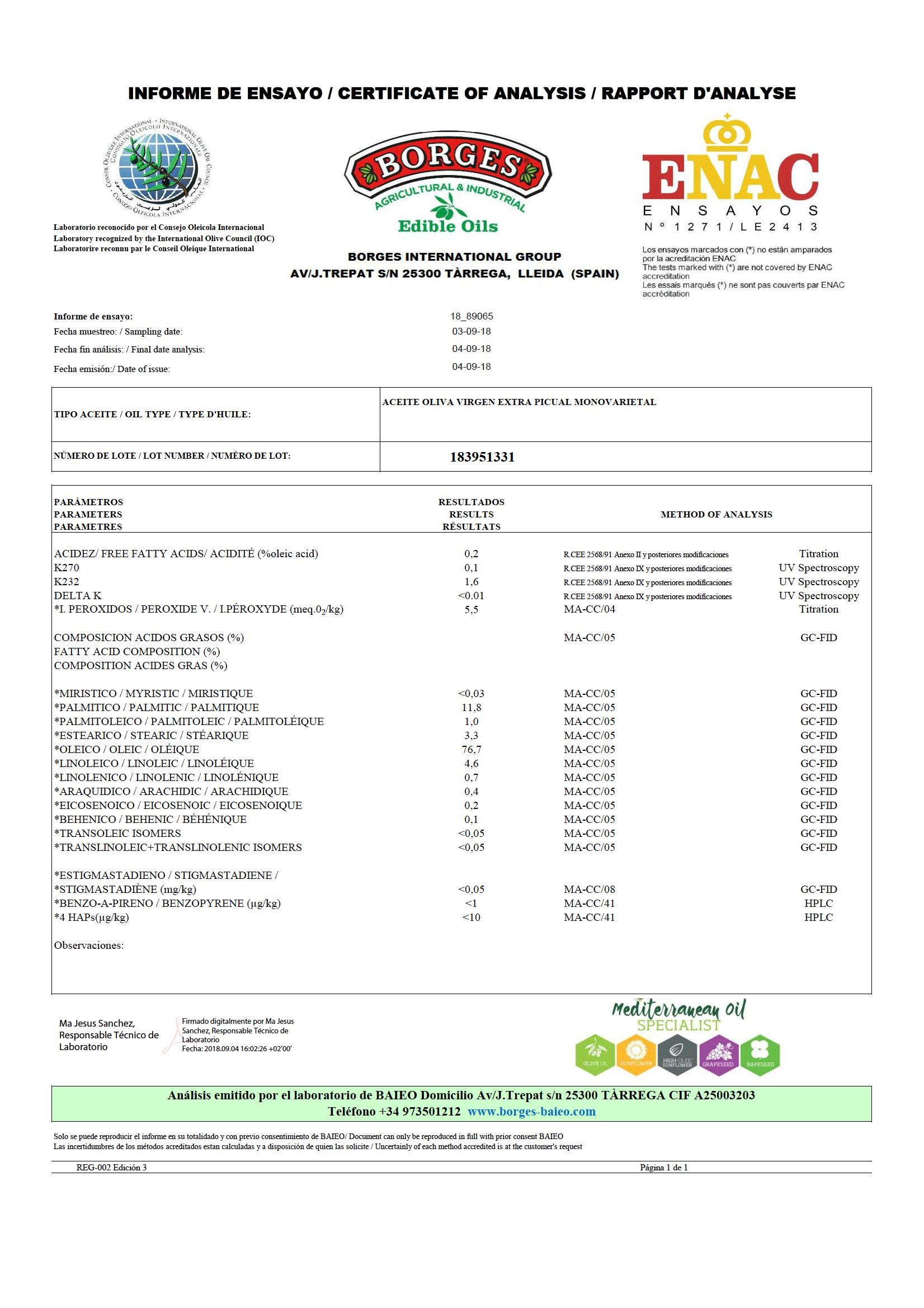 【酸度檢驗報告】百格仕單一品種橄欖油禮盒,酸度皆低於0.2