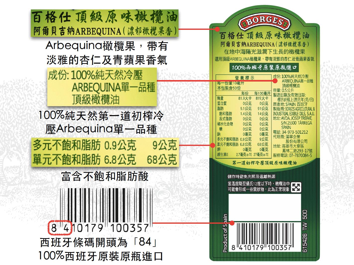 百格仕阿爾貝吉納(Arbequina)橄欖油背標